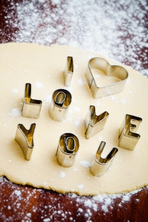 pastry cutter: Baking love cookies for Valentine´s Day