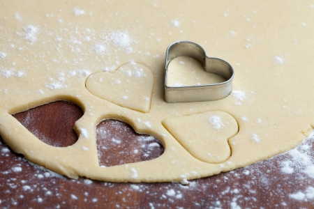 pastry cutter: Baking heart shape cookies for Valentine´s Day