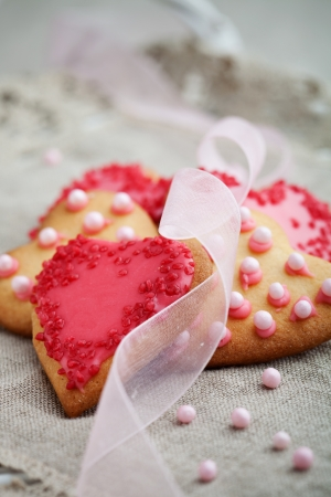 Pink heart shape cookies for Valentine´s Day celebration Stock Photo
