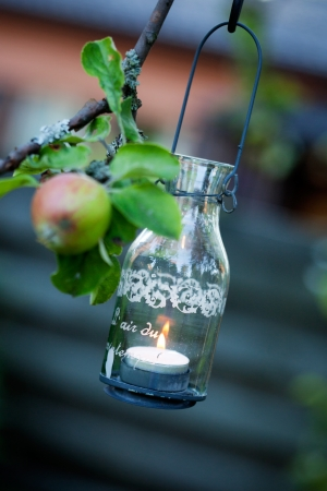Beautiful glass lantern hanging from apple tree Stock fotó - 14759138