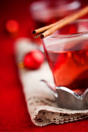Mulled wine with cinnamon stick and star anise photo