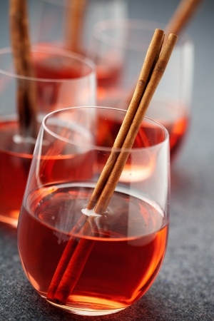 spiced: Mulled wine with cinnamon stick and star anise Stock Photo