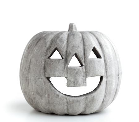 Grey halloween pumpkin isolated on white background photo