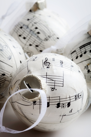 Christmas baubles made from old music book photo