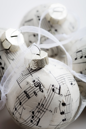 christmas music: Christmas baubles made from old music book