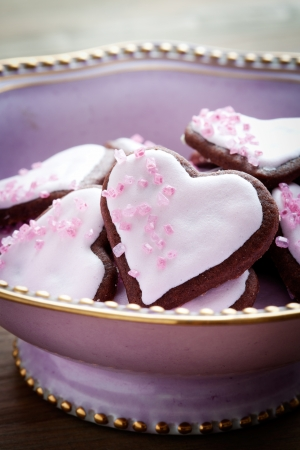 Heart shape pink cookies for Valentine�s Day photo