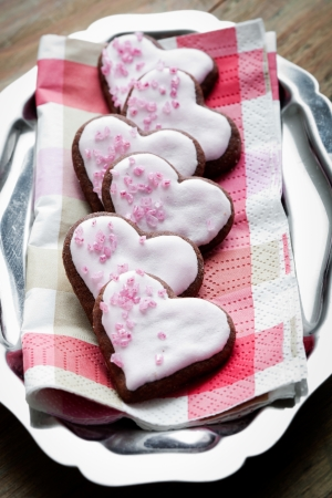 Heart shape pink cookies for Valentine´s Day photo