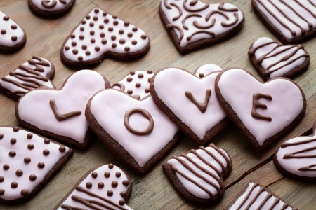 Pink heart shape cookies for Valentine&acute,s Day Stock Photo - 17315387