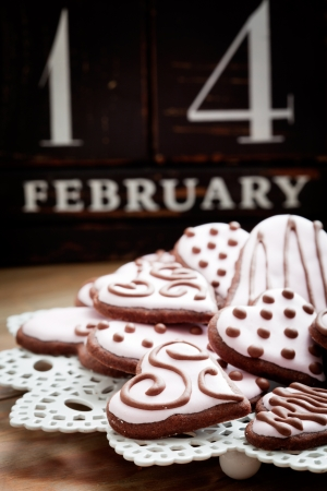 Pink heart shape cookies for Valentine&acute,s Day photo