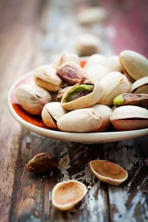 close up food: Bunch of pistachios with very selective focus