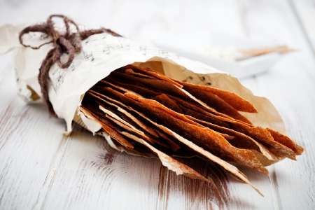 Thin and healthy rye crackers with selective focus