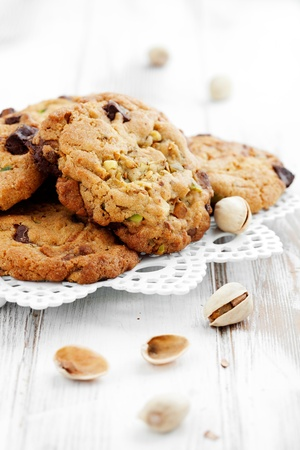 Homemade chocolate chip cookies with pistachios photo