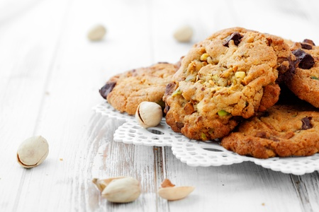 Homemade chocolate chip cookies with pistachios Stock Photo - 17749739