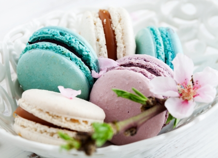 French macaroons in pink, turquoise and white photo