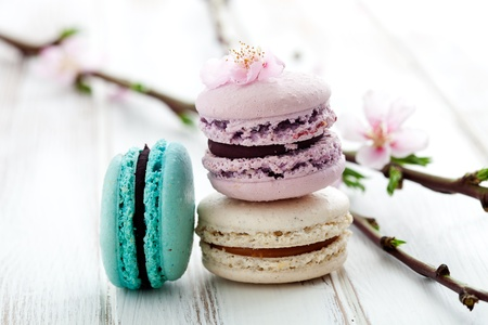 French macaroons in pink, turquoise and white