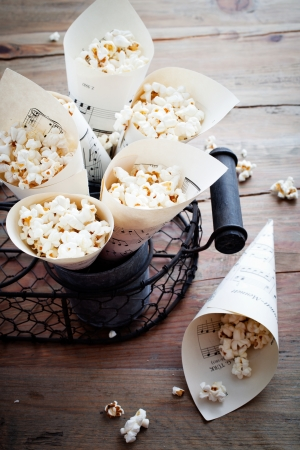 popped: Pop corn in paper cones made from music sheets