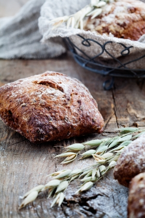 Fresh homemade bread with rye and oat Stockfoto