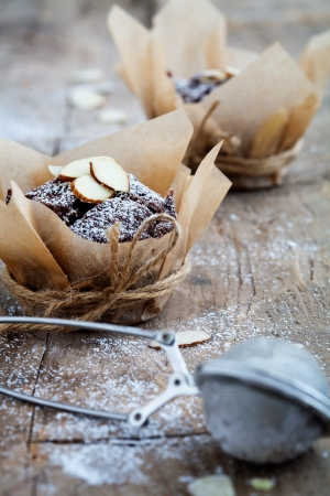 Fresh homemade chocolate muffins with sliced almonds Stock Photo - 19898930
