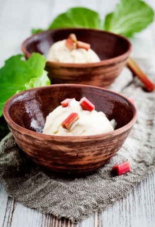 rhubarb: Homemade ice cream with rhubarb and vanilla