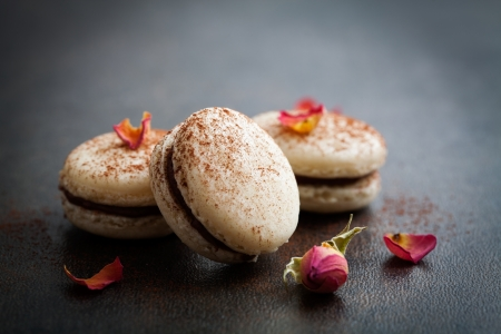 pasteleria francesa: Macarrones franceses con relleno de chocolate y cacao en polvo