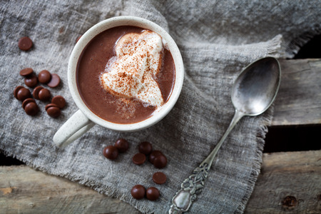 Hot chocolate with whipped cream Stock Photo