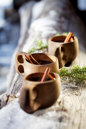 mulled wine spice: Mulled wine served from kuksa ,specially made wooden cup