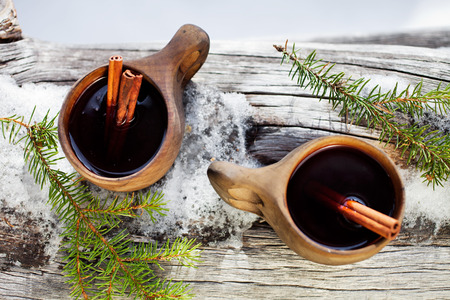 mulled: Mulled wine served from kuksa ,specially made wooden cup