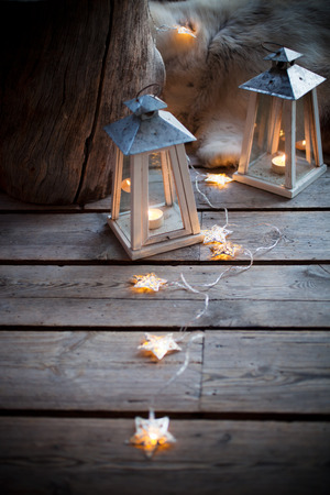 decorated: Porch decorated with lanterns and Christmas lights