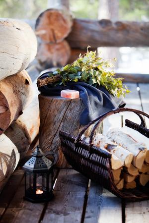 サウナ アクセサリー: タオル、石鹸、vihta 写真素材