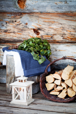 sauna: Sauna Accessories: towel, soap and vihta