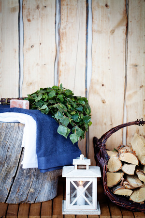 finland sauna: Sauna Accessories: towel, soap and vihta