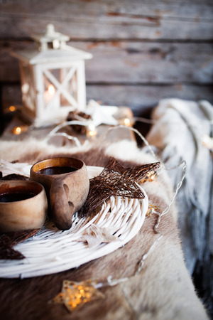 finnish: Coffee served from kuksa, finnish wooden cup Stock Photo