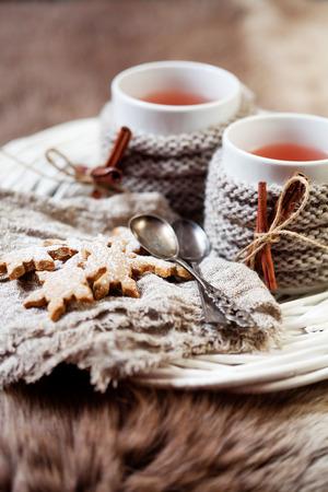 vin chaud: Vin chaud avec biscuits au gingembre