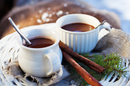 Hot chocolate for two outdoors Stock Photo
