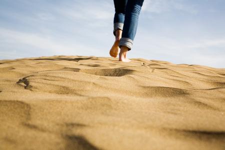 Footprints on sand, selective focus