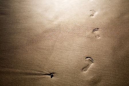 sandy feet: Footprints on sand, selective focus