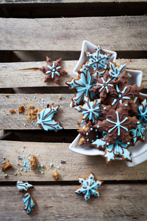frosting': Christmas cookies with brown and blue frosting