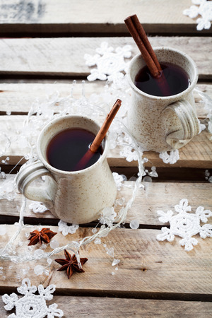 punch spice: Mulled wine, traditional hot Christmas drink Stock Photo