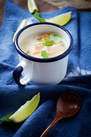 dill: Traditional finnish salmon soup in mug