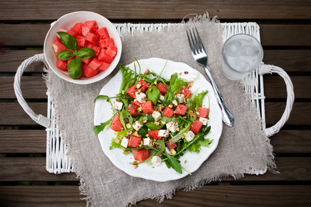 Watermelon salad with feta and nuts