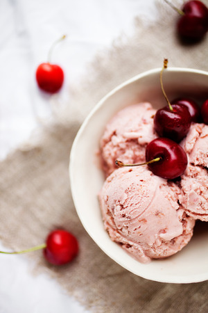 Homemade cherry ice cream on table Stock Photo