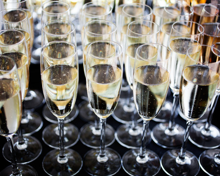 champagne glasses: Wedding reception with sparkling wine or champagne