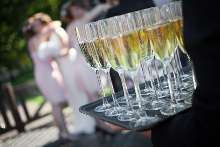 reception: Wedding reception with sparkling wine or champagne