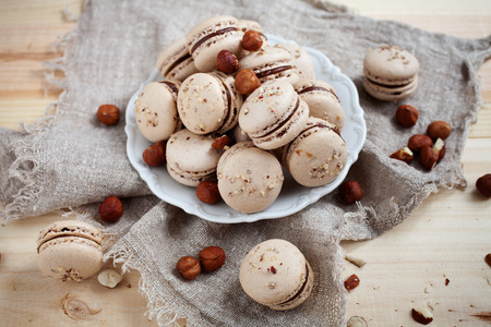 praline: Baking macaroons with nuts and chocolate Stock Photo