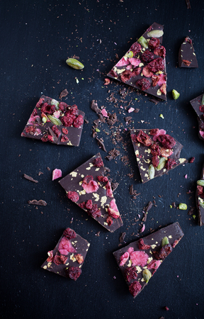 cherry varieties: Handmade chocolate with berries, jpistachios and edible gold