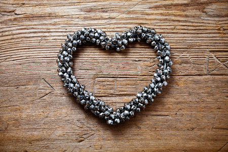 jingle bells: Heart shape made of jingle bells