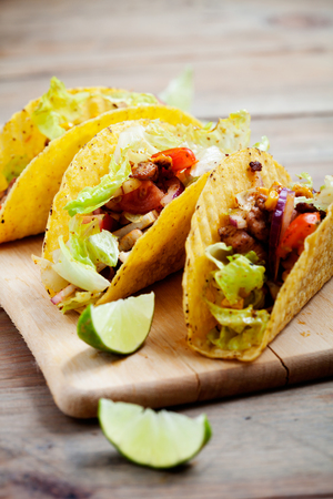 vegetarian food: Fresh Mexican tacos with spicy chicken