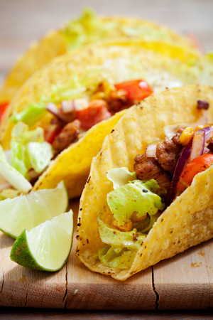 red food: Fresh Mexican tacos with spicy chicken