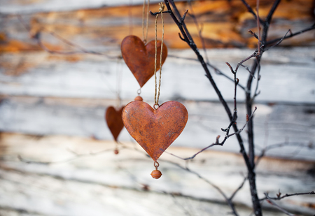 romantic love: Rustic hearts hanging against weathered wood