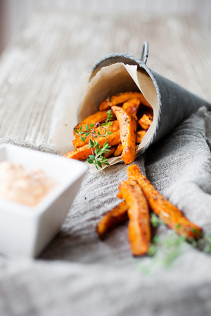 fry: Fresh homemade sweet potato fries with thyme